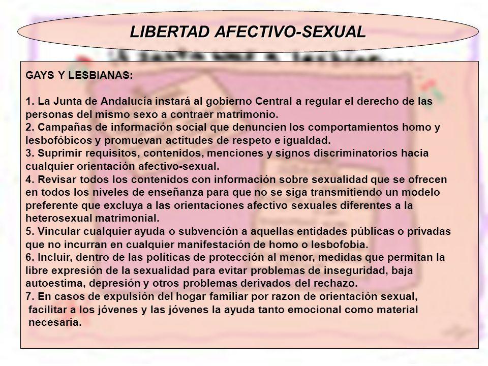 LIBERTAD AFECTIVO-SEXUAL GAYS Y LESBIANAS: 1. La Junta de Andalucía instará al gobierno Central a regular el derecho de las personas del mismo sexo a