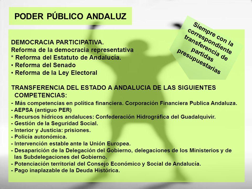 PODER PÚBLICO ANDALUZ DEMOCRACIA PARTICIPATIVA. Reforma de la democracia representativa * Reforma del Estatuto de Andalucía. Reforma del Senado Reform