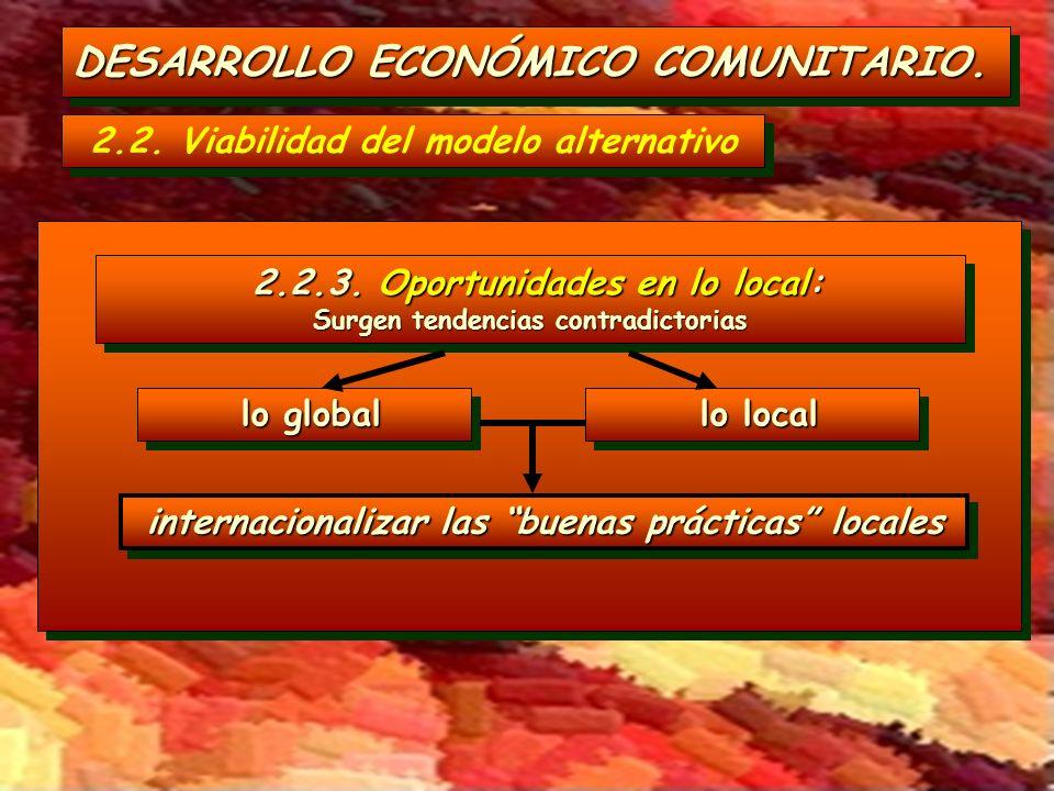 DESARROLLO ECONÓMICO COMUNITARIO. 2.2. Viabilidad del modelo alternativo lo local lo local lo global lo global 2.2.3. Oportunidades en lo local: 2.2.3