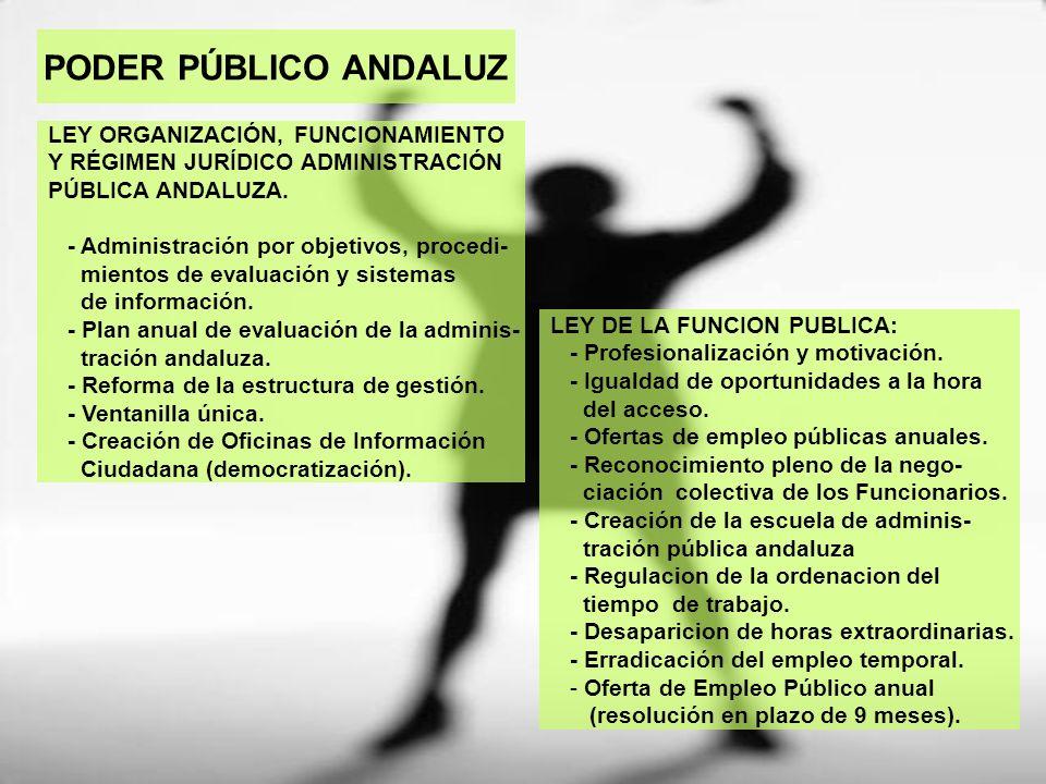 PODER PÚBLICO ANDALUZ LEY DE LA FUNCION PUBLICA: - Profesionalización y motivación. - Igualdad de oportunidades a la hora del acceso. - Ofertas de emp