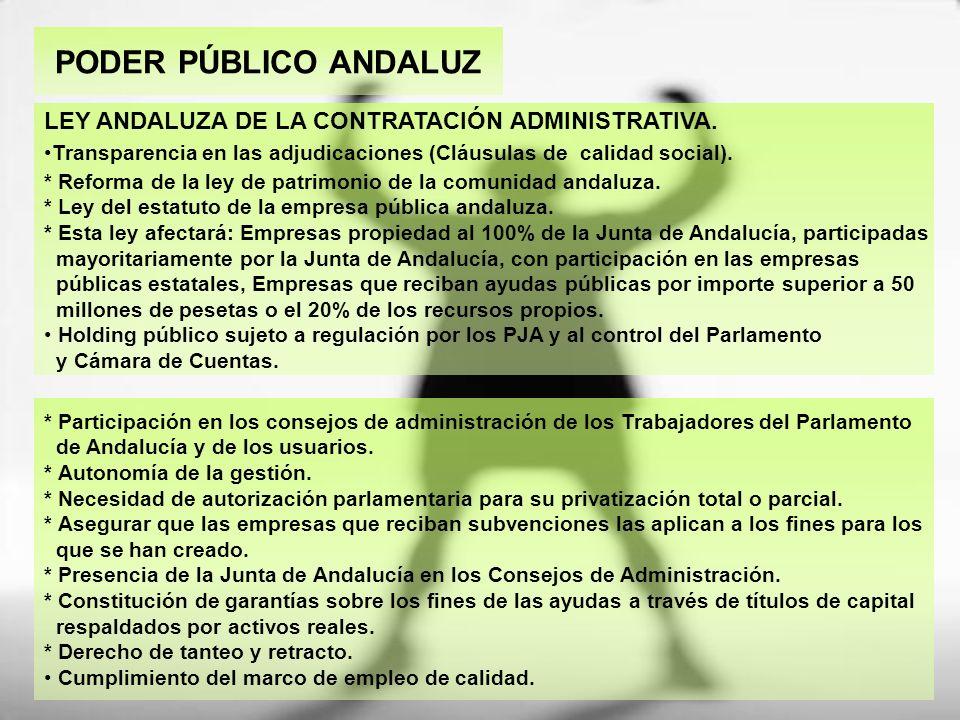 PODER PÚBLICO ANDALUZ * Participación en los consejos de administración de los Trabajadores del Parlamento de Andalucía y de los usuarios. * Autonomía