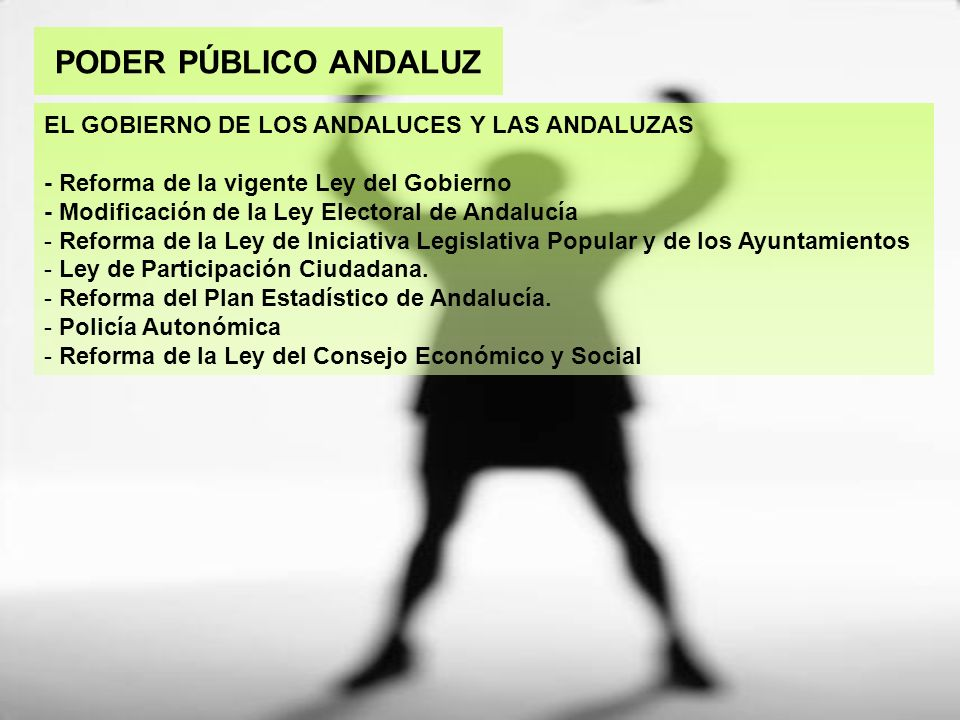 PODER PÚBLICO ANDALUZ EL GOBIERNO DE LOS ANDALUCES Y LAS ANDALUZAS - Reforma de la vigente Ley del Gobierno - Modificación de la Ley Electoral de Anda