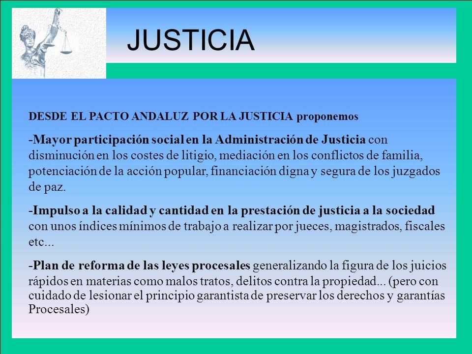JUSTICIA DESDE EL PACTO ANDALUZ POR LA JUSTICIA proponemos -Mayor participación social en la Administración de Justicia con disminución en los costes