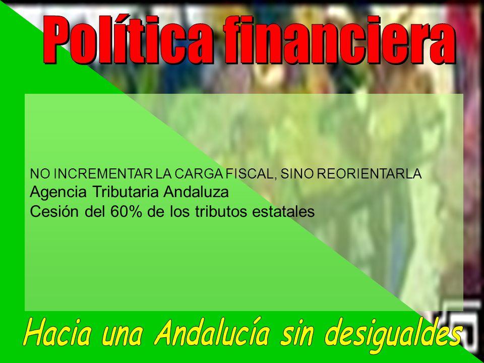 NO INCREMENTAR LA CARGA FISCAL, SINO REORIENTARLA Agencia Tributaria Andaluza Cesión del 60% de los tributos estatales