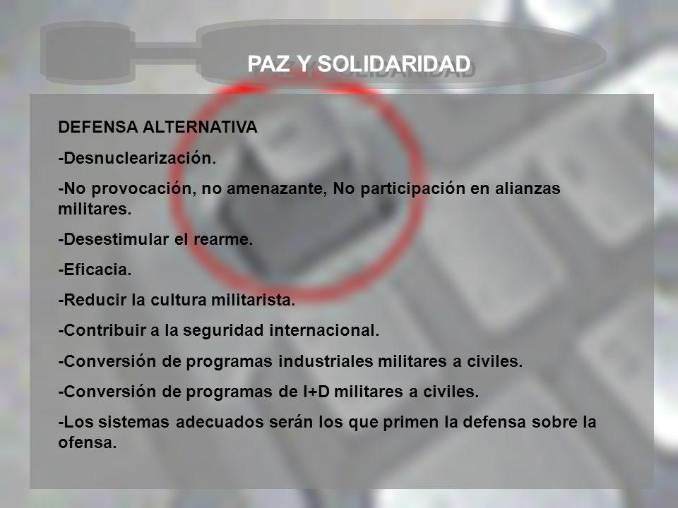 PAZ Y SOLIDARIDAD DEFENSA ALTERNATIVA -Desnuclearización. -No provocación, no amenazante, No participación en alianzas militares. -Desestimular el rea