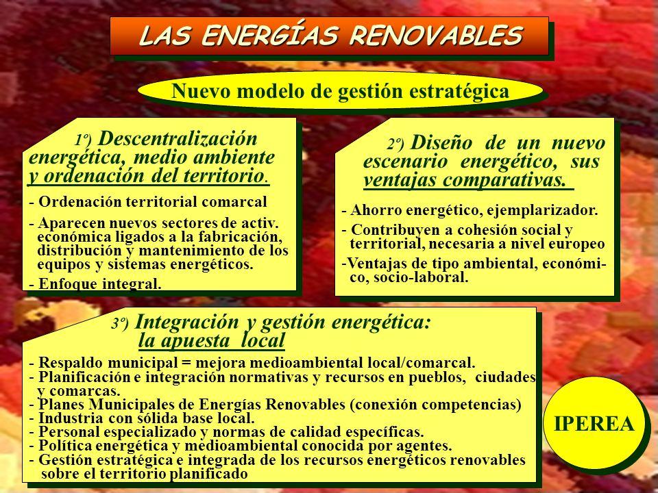 LAS ENERGÍAS RENOVABLES Nuevo modelo de gestión estratégica 1º) Descentralización energética, medio ambiente y ordenación del territorio. - Ordenación