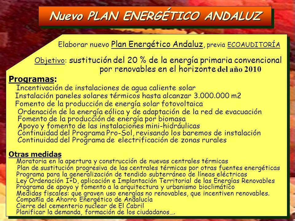 Nuevo PLAN ENERGÉTICO ANDALUZ Elaborar nuevo Plan Energético Andaluz, previa ECOAUDITORÍA Objetivo: sustitución del 20 % de la energía primaria conven