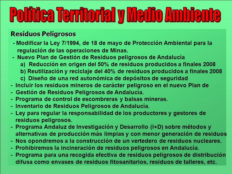 Residuos Peligrosos - Modificar la Ley 7/1994, de 18 de mayo de Protección Ambiental para la regulación de las operaciones de Minas. - Nuevo Plan de G