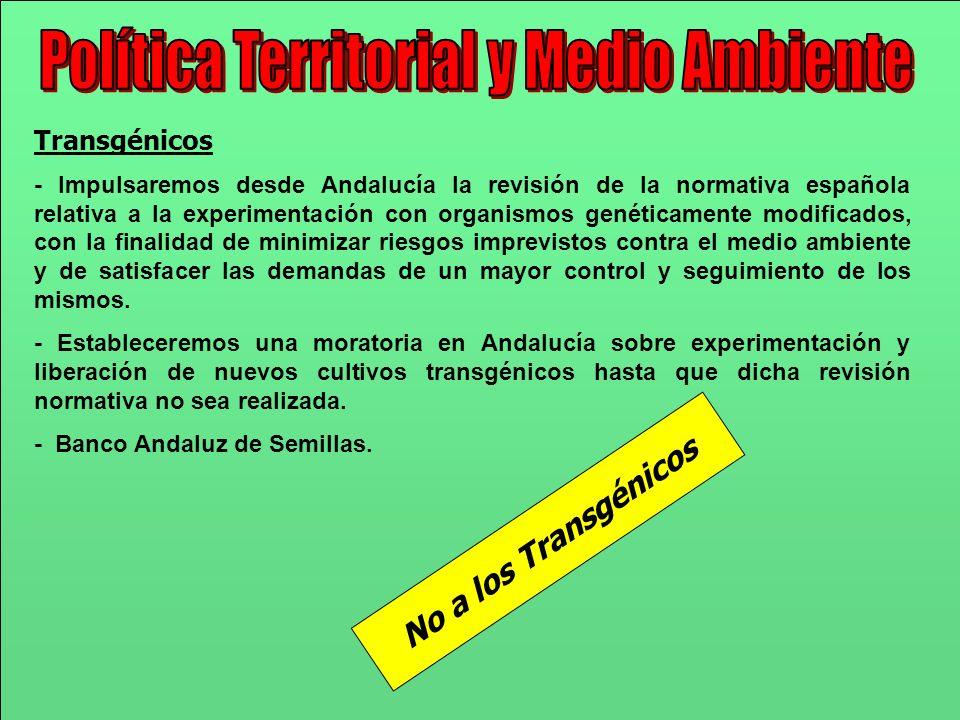 Transgénicos - Impulsaremos desde Andalucía la revisión de la normativa española relativa a la experimentación con organismos genéticamente modificado