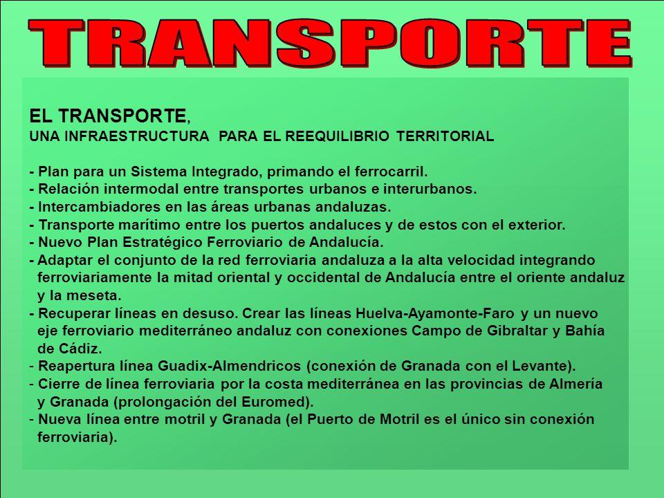 EL TRANSPORTE, UNA INFRAESTRUCTURA PARA EL REEQUILIBRIO TERRITORIAL - Plan para un Sistema Integrado, primando el ferrocarril. - Relación intermodal e