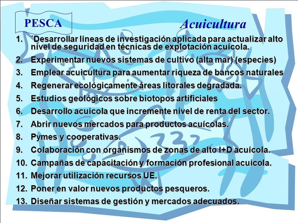PESCA Acuicultura 1.´Desarrollar líneas de investigación aplicada para actualizar alto nivel de seguridad en técnicas de explotación acuícola. 2.Exper