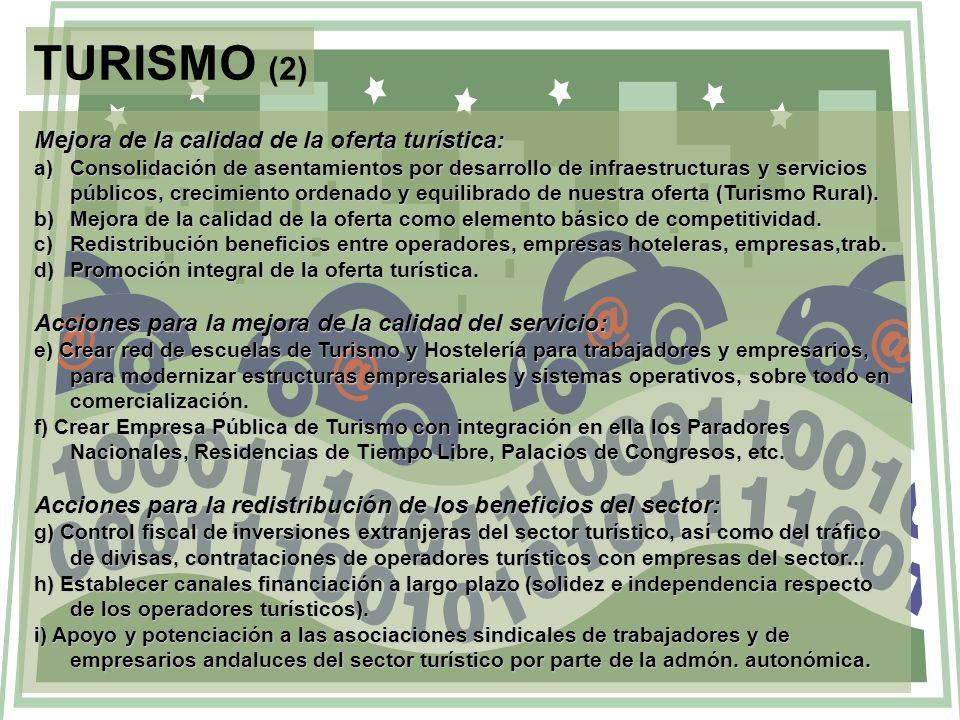 TURISMO (2) Mejora de la calidad de la oferta turística: a)Consolidación de asentamientos por desarrollo de infraestructuras y servicios públicos, cre