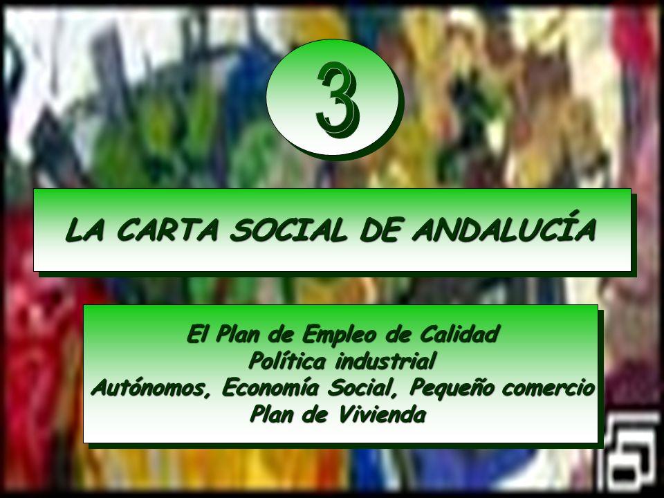 LA CARTA SOCIAL DE ANDALUCÍA El Plan de Empleo de Calidad Política industrial Autónomos, Economía Social, Pequeño comercio Plan de Vivienda El Plan de
