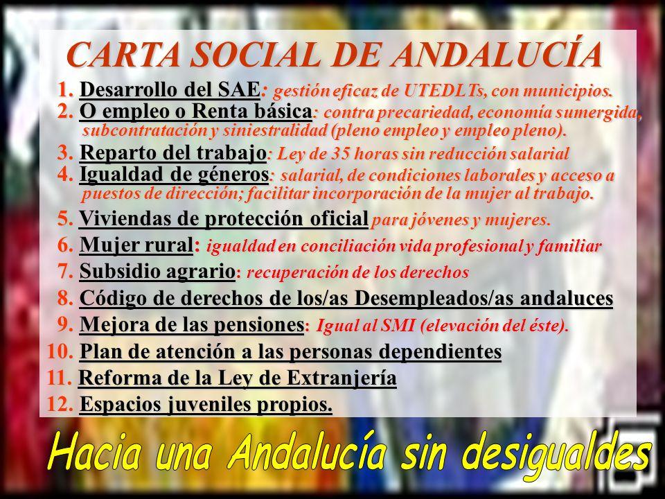 CARTA SOCIAL DE ANDALUCÍA CARTA SOCIAL DE ANDALUCÍA 1. Desarrollo del SAE: gestión eficaz de UTEDLTs, con municipios. 1. Desarrollo del SAE: gestión e