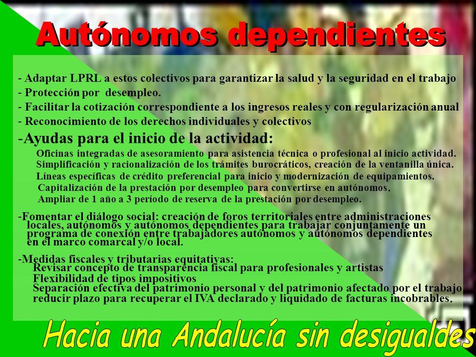 - Adaptar LPRL a estos colectivos para garantizar la salud y la seguridad en el trabajo - Protección por desempleo. - Facilitar la cotización correspo