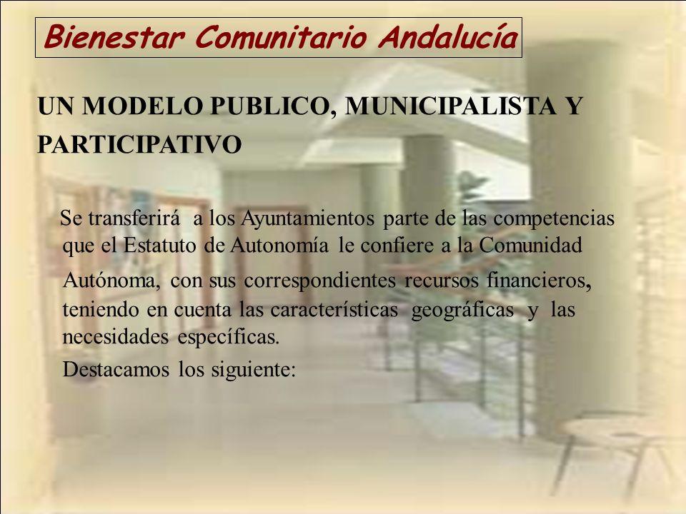 Bienestar Comunitario Andalucía UN MODELO PUBLICO, MUNICIPALISTA Y PARTICIPATIVO Se transferirá a los Ayuntamientos parte de las competencias que el E