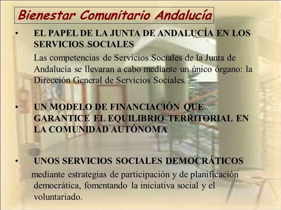 Bienestar Comunitario Andalucía EL PAPEL DE LA JUNTA DE ANDALUCÍA EN LOS SERVICIOS SOCIALES Las competencias de Servicios Sociales de la Junta de Anda