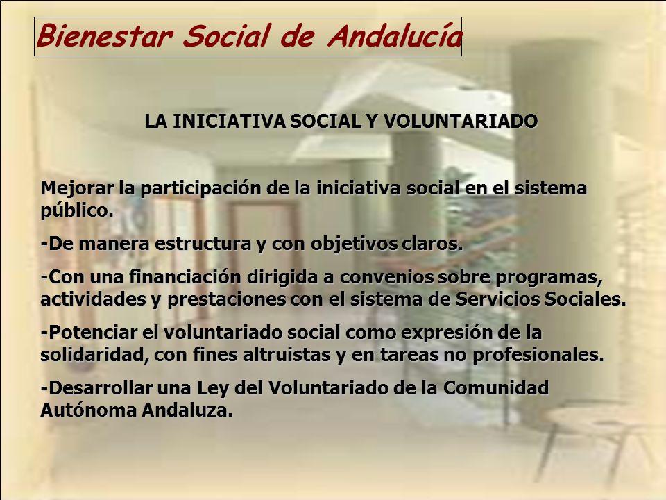 Bienestar Social de Andalucía LA INICIATIVA SOCIAL Y VOLUNTARIADO Mejorar la participación de la iniciativa social en el sistema público. -De manera e