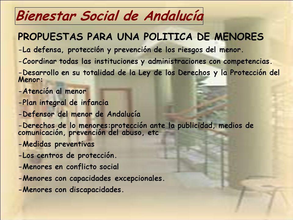 Bienestar Social de Andalucía PROPUESTAS PARA UNA POLITICA DE MENORES -La defensa, protección y prevención de los riesgos del menor. -Coordinar todas