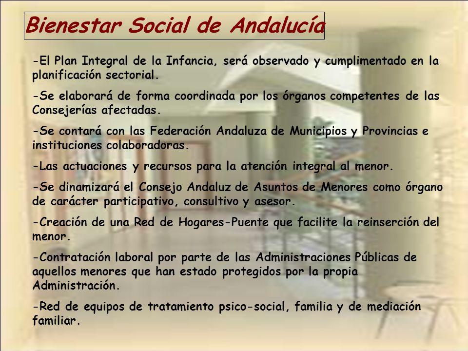 Bienestar Social de Andalucía -El Plan Integral de la Infancia, será observado y cumplimentado en la planificación sectorial. -Se elaborará de forma c