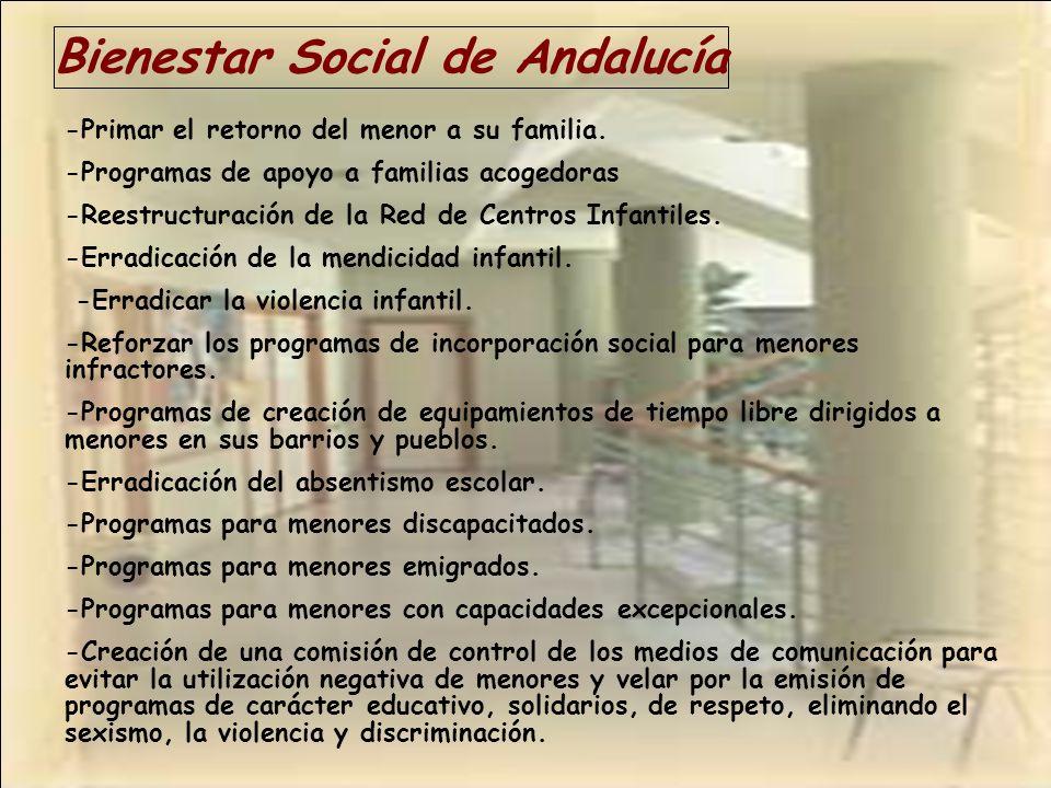 Bienestar Social de Andalucía -Primar el retorno del menor a su familia. -Programas de apoyo a familias acogedoras -Reestructuración de la Red de Cent