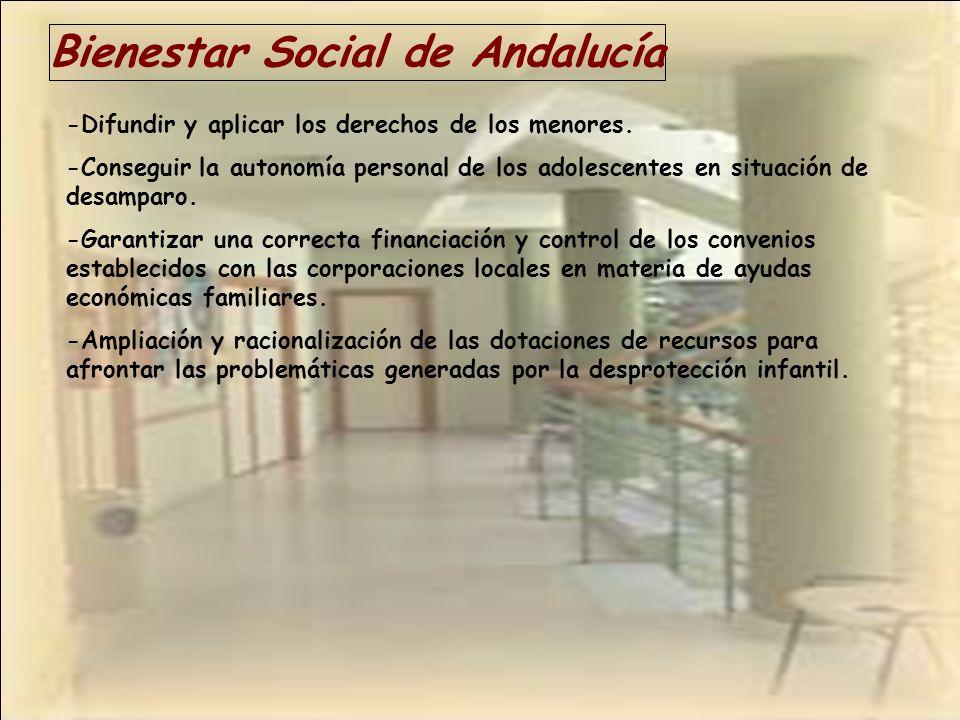 Bienestar Social de Andalucía -Difundir y aplicar los derechos de los menores. -Conseguir la autonomía personal de los adolescentes en situación de de