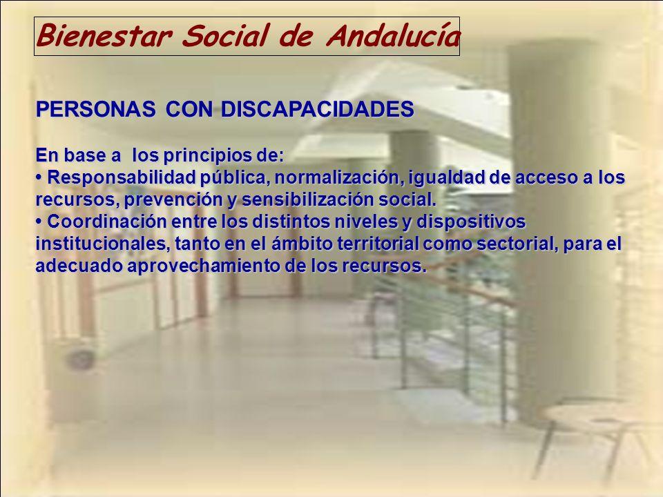 Bienestar Social de Andalucía PERSONAS CON DISCAPACIDADES En base a los principios de: Responsabilidad pública, normalización, igualdad de acceso a lo