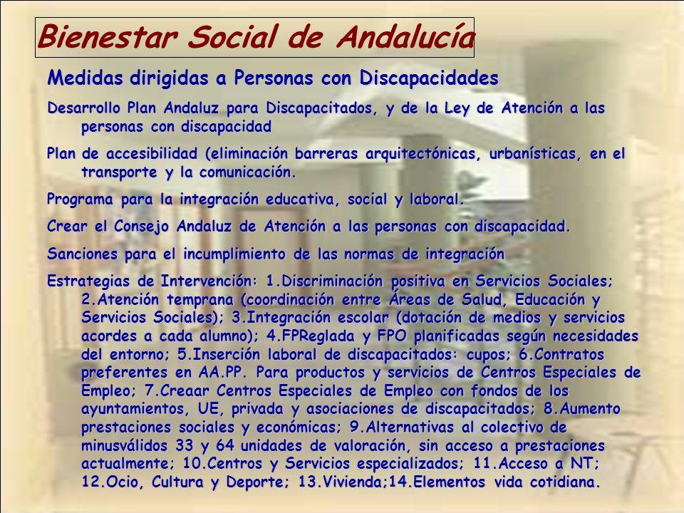 Bienestar Social de Andalucía Medidas dirigidas a Personas con Discapacidades Desarrollo Plan Andaluz para Discapacitados, y de la Ley de Atención a l