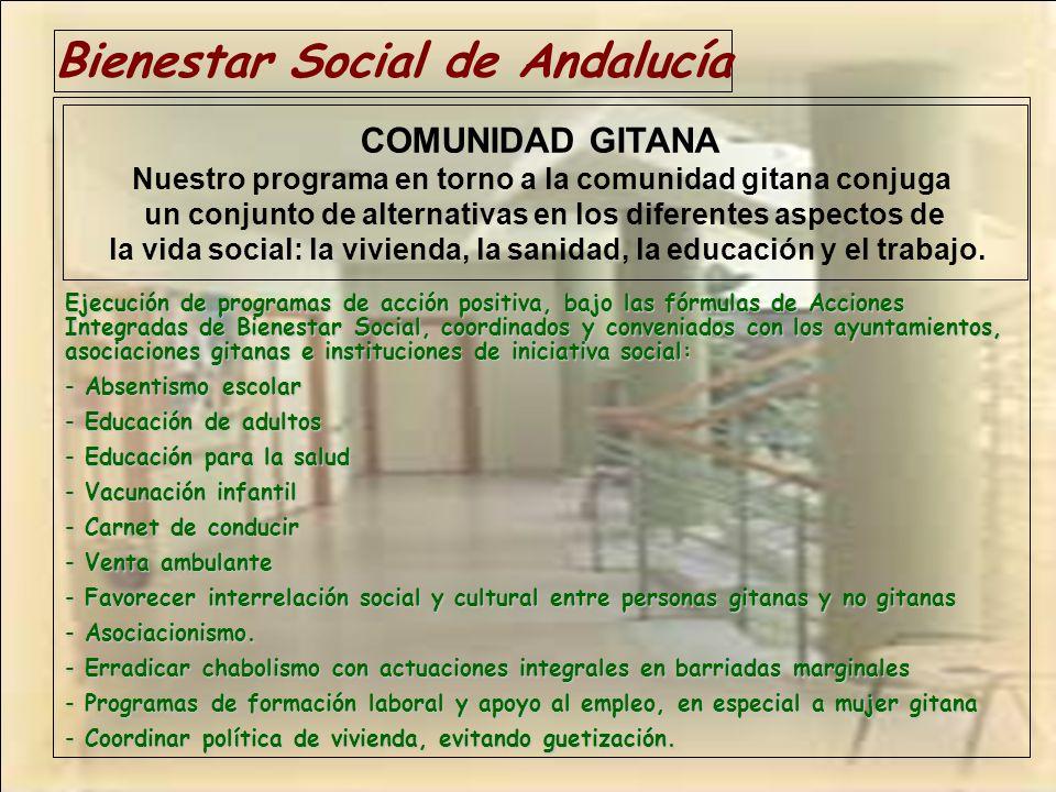 Bienestar Social de Andalucía Ejecución de programas de acción positiva, bajo las fórmulas de Acciones Integradas de Bienestar Social, coordinados y c