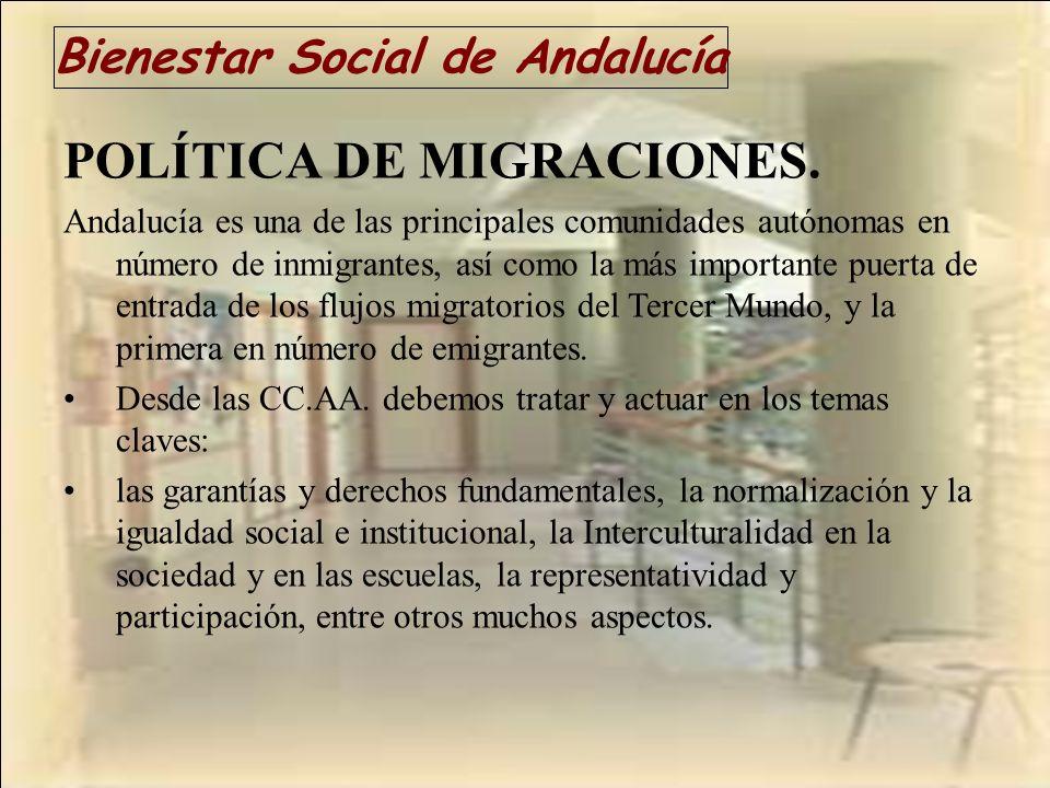Bienestar Social de Andalucía POLÍTICA DE MIGRACIONES. Andalucía es una de las principales comunidades autónomas en número de inmigrantes, así como la