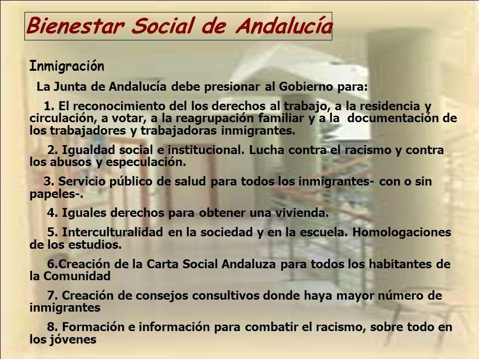 Bienestar Social de Andalucía Inmigración La Junta de Andalucía debe presionar al Gobierno para: 1. El reconocimiento del los derechos al trabajo, a l