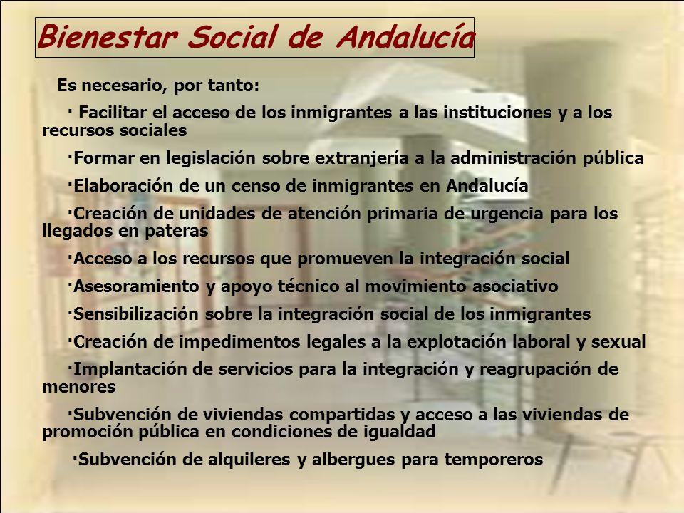 Bienestar Social de Andalucía Es necesario, por tanto: · Facilitar el acceso de los inmigrantes a las instituciones y a los recursos sociales ·Formar