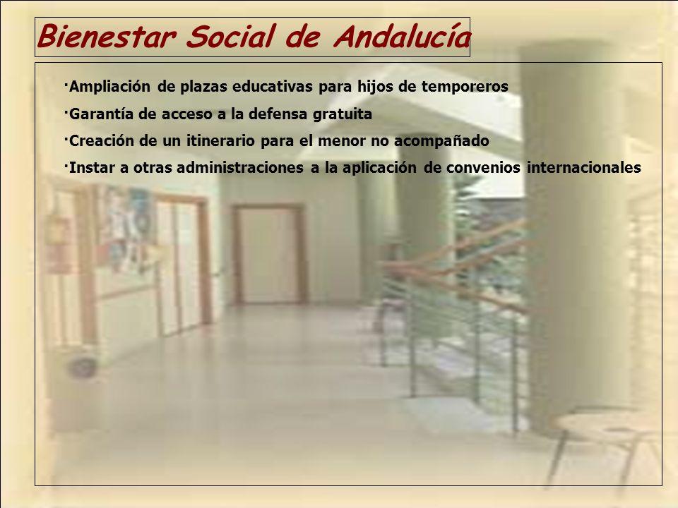 Bienestar Social de Andalucía ·Ampliación de plazas educativas para hijos de temporeros ·Garantía de acceso a la defensa gratuita ·Creación de un itin