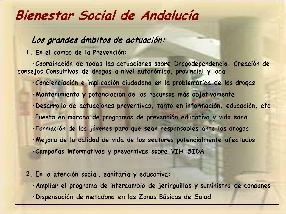 Bienestar Social de Andalucía Los grandes ámbitos de actuación: 1. En el campo de la Prevención: ·Coordinación de todas las actuaciones sobre Drogodep