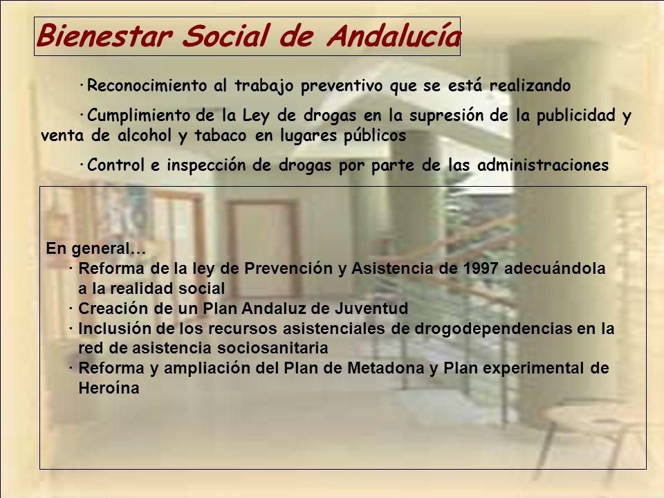 Bienestar Social de Andalucía ·Reconocimiento al trabajo preventivo que se está realizando ·Cumplimiento de la Ley de drogas en la supresión de la pub