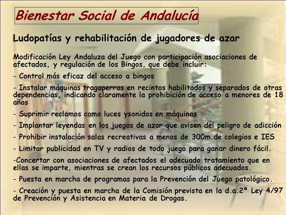 Bienestar Social de Andalucía Ludopatías y rehabilitación de jugadores de azar Modificación Ley Andaluza del Juego con participación asociaciones de a