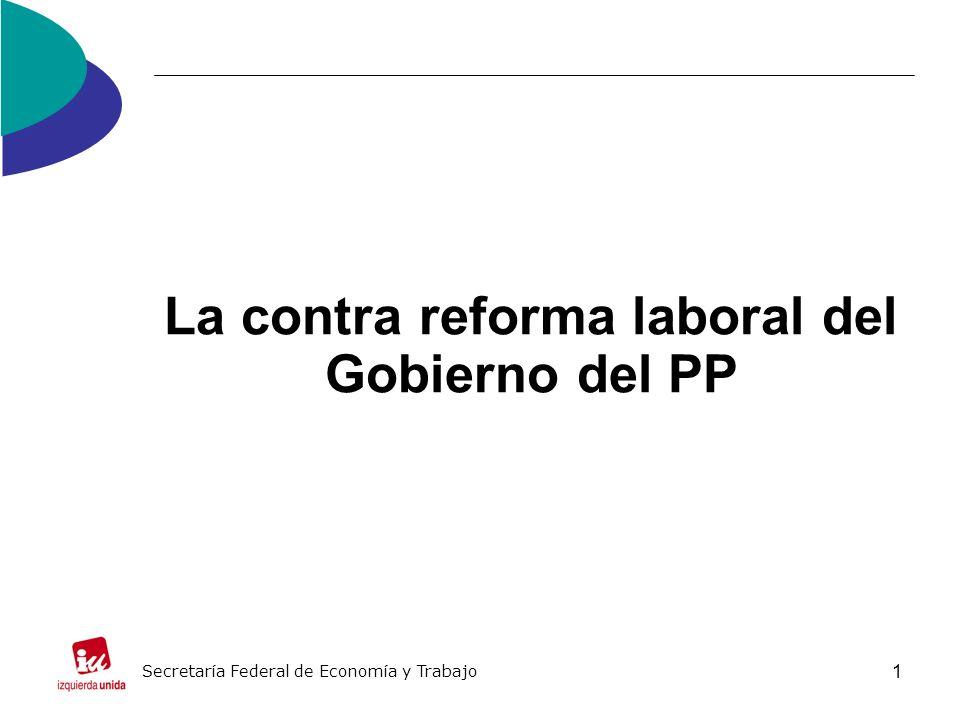1 La contra reforma laboral del Gobierno del PP Secretaría Federal de Economía y Trabajo