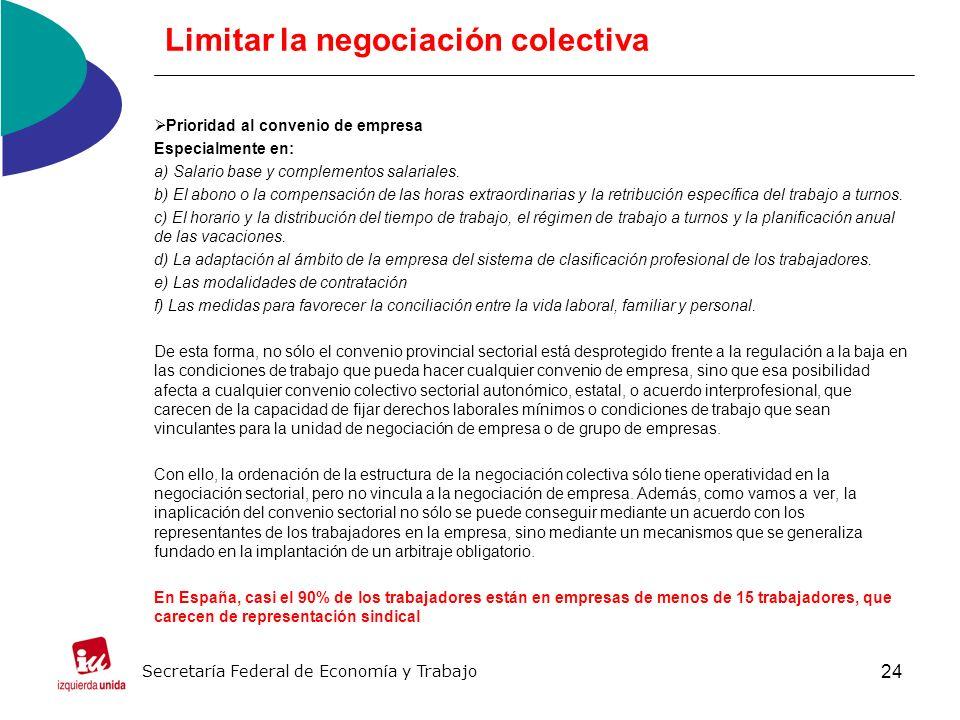 24 Limitar la negociación colectiva Prioridad al convenio de empresa Especialmente en: a) Salario base y complementos salariales.