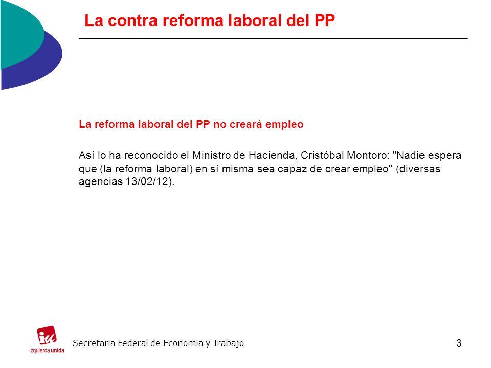4 La contra reforma laboral del PP La reforma del PP no simplifica el número de contratos, es más, añade uno nuevo La reforma laboral no atiende a los trabajadores en paro.