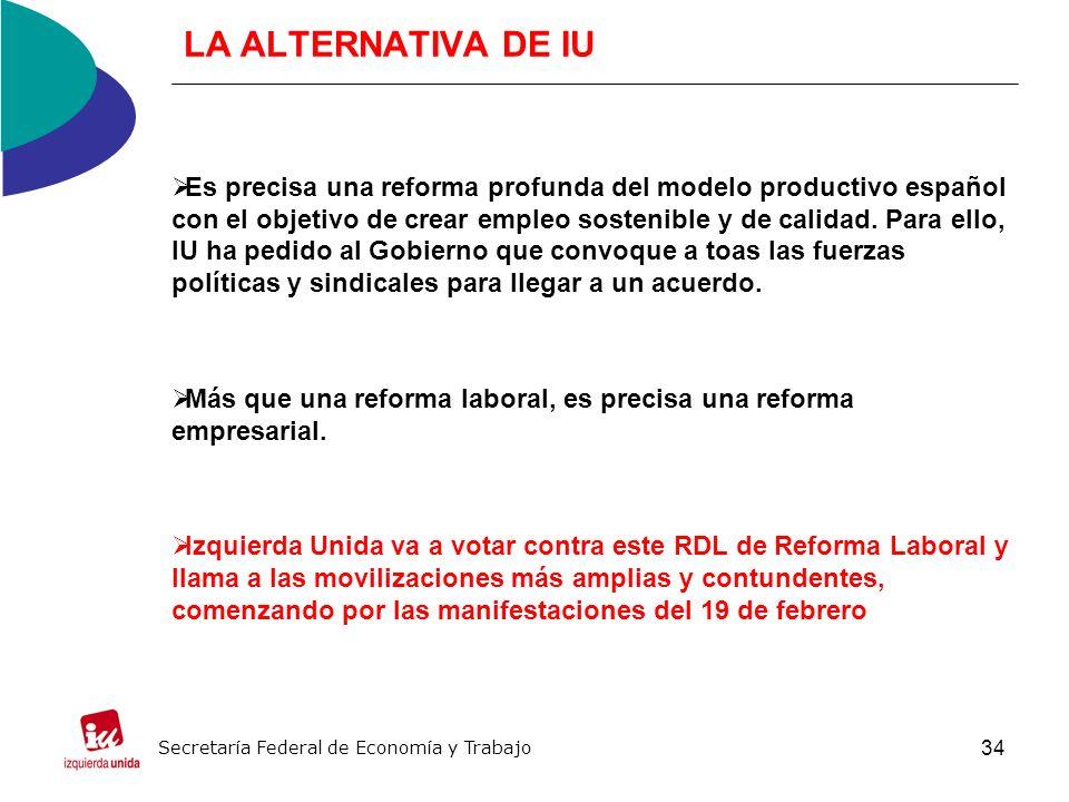 34 LA ALTERNATIVA DE IU Es precisa una reforma profunda del modelo productivo español con el objetivo de crear empleo sostenible y de calidad.