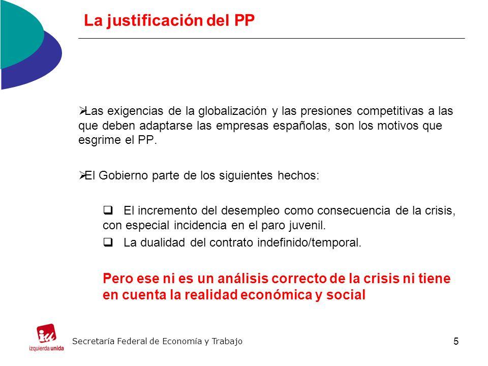 5 La justificación del PP Las exigencias de la globalización y las presiones competitivas a las que deben adaptarse las empresas españolas, son los motivos que esgrime el PP.
