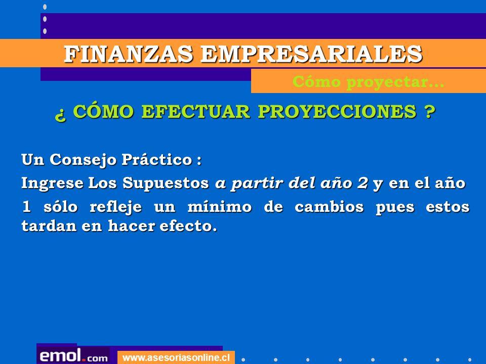 www.asesoriasonline.cl ¿ CÓMO EFECTUAR PROYECCIONES ? Un Consejo Práctico : Ingrese Los Supuestos a partir del año 2 y en el año 1 sólo refleje un mín