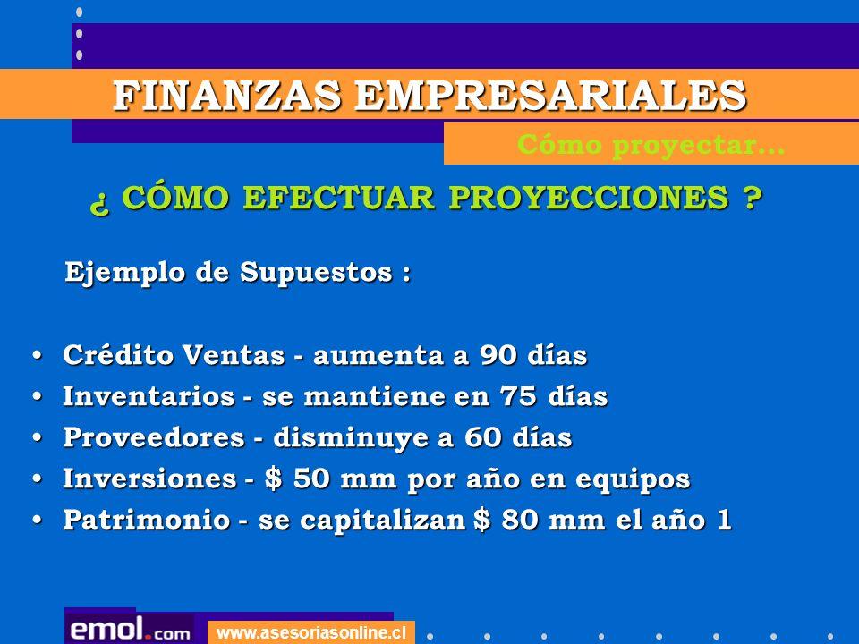 www.asesoriasonline.cl ¿ CÓMO EFECTUAR PROYECCIONES ? Ejemplo de Supuestos : Ejemplo de Supuestos : Crédito Ventas - aumenta a 90 días Crédito Ventas