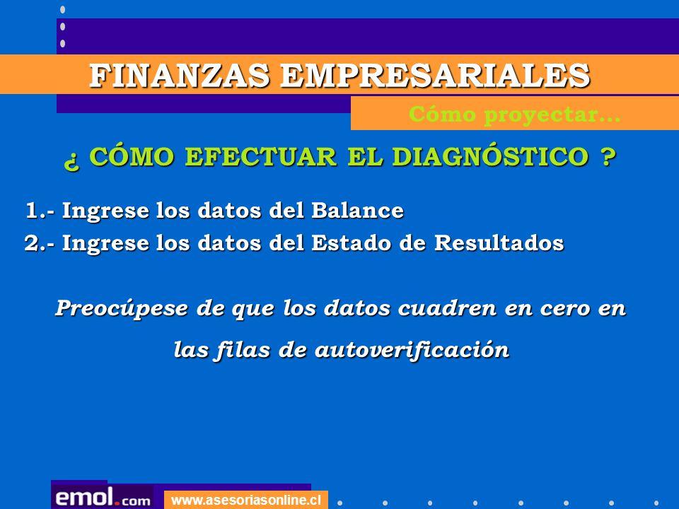 www.asesoriasonline.cl ¿ CÓMO EFECTUAR EL DIAGNÓSTICO ? 1.- Ingrese los datos del Balance 2.- Ingrese los datos del Estado de Resultados Preocúpese de