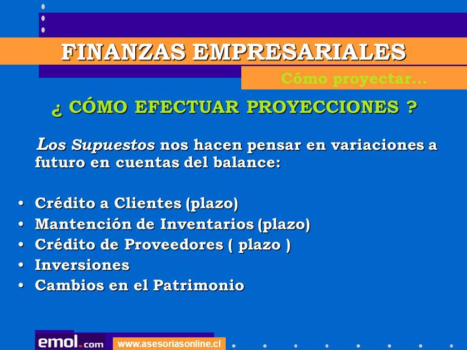 www.asesoriasonline.cl ¿ CÓMO EFECTUAR PROYECCIONES .