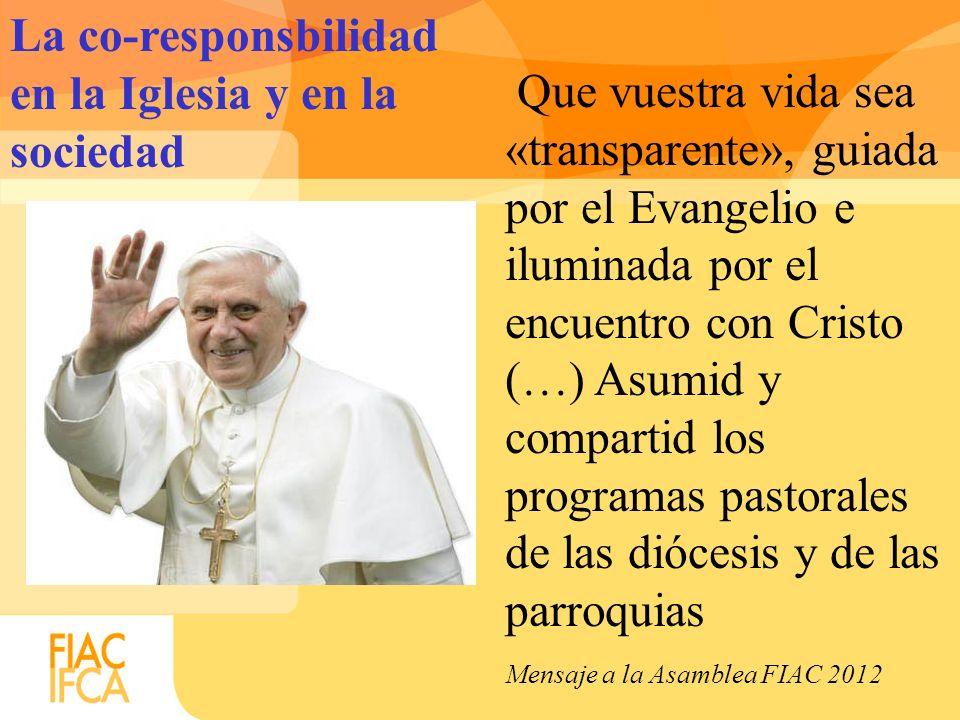 Que vuestra vida sea «transparente», guiada por el Evangelio e iluminada por el encuentro con Cristo (…) Asumid y compartid los programas pastorales d