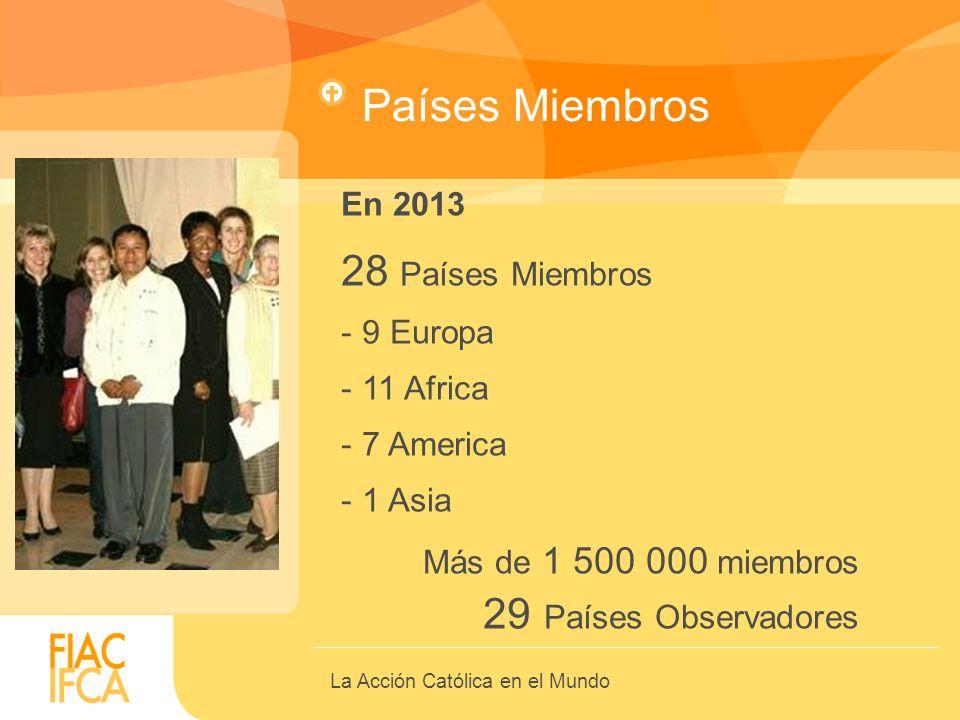 La Acción Católica en el Mundo Países Miembros En 2013 28 Países Miembros - 9 Europa - 11 Africa - 7 America - 1 Asia Más de 1 500 000 miembros 29 Paí