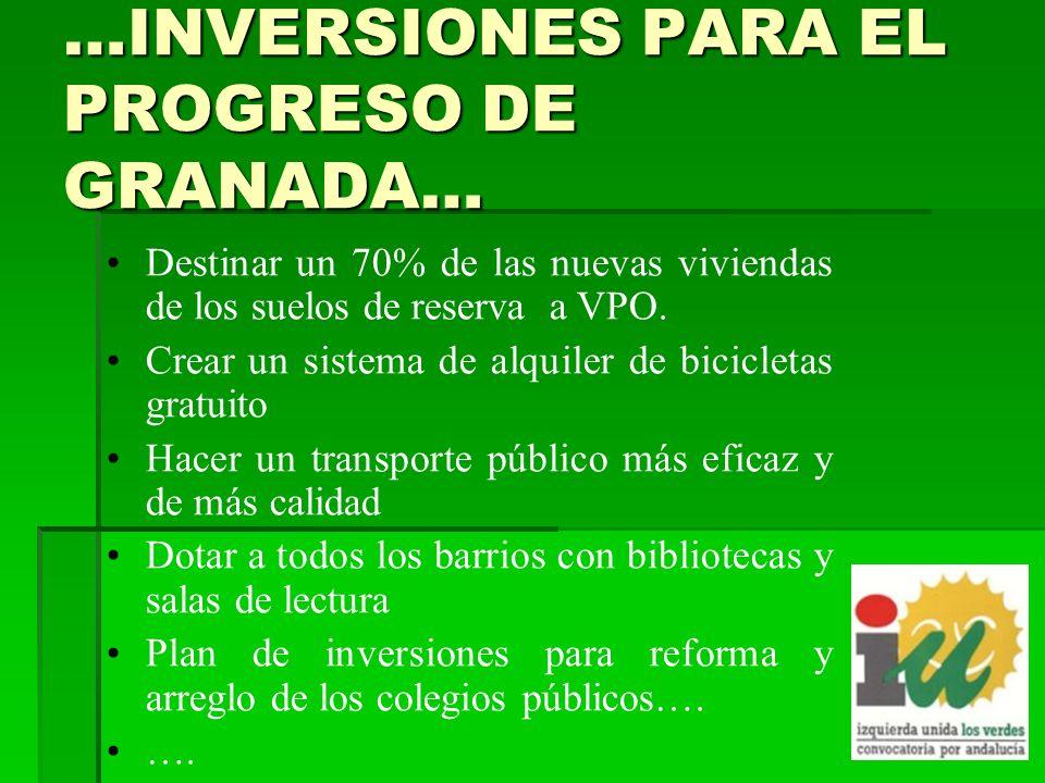 …INVERSIONES PARA EL PROGRESO DE GRANADA… Destinar un 70% de las nuevas viviendas de los suelos de reserva a VPO.