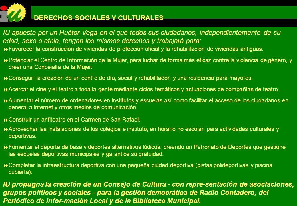 PROGRAMA DE GOBIERNO IZQUIERDA UNIDA LOS VERDES DE HUÉTOR-VEGA DERECHOS SOCIALES Y CULTURALES