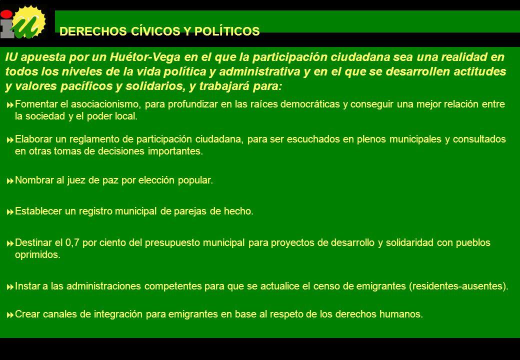 PROGRAMA DE GOBIERNO IZQUIERDA UNIDA LOS VERDES DE HUÉTOR-VEGA DERECHOS CÍVICOS Y POLÍTICOS